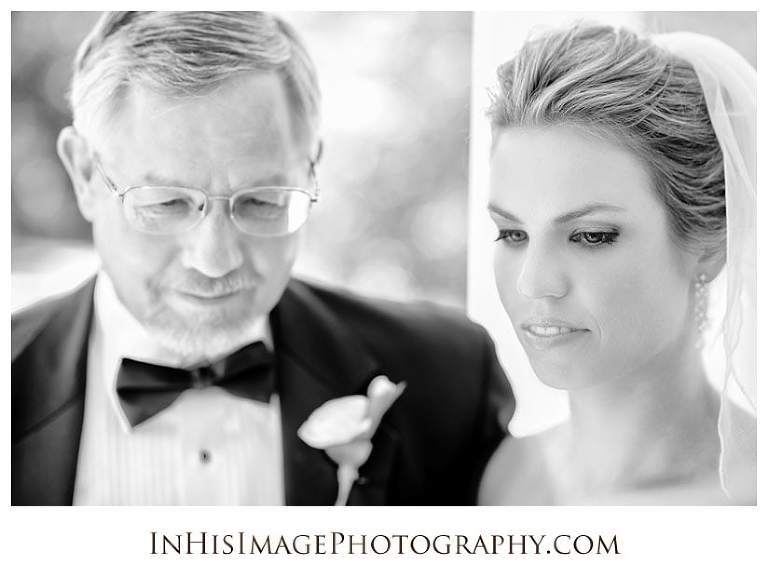 Bride with Father reflecting on her wedding day