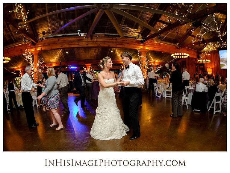 Bride and Groom dance at the Pavilions at the Angus Barn