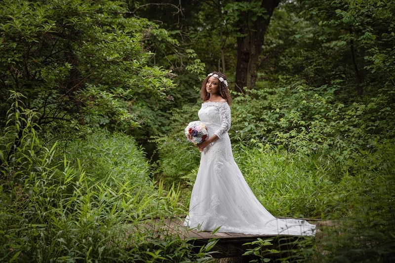 Cocker Arboretum bridal portrait